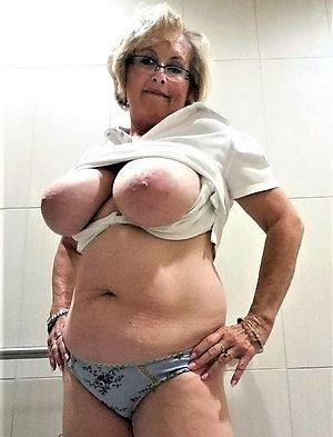 Handsome older women in white panties