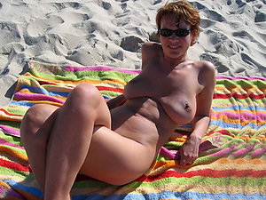 Real mature beach boobs