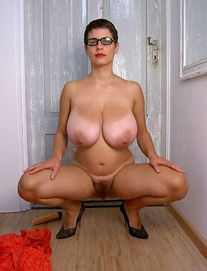 Amazing mature big tits hairy pussy