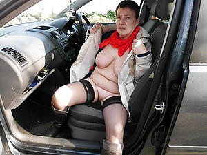 Cold naked old women in cars