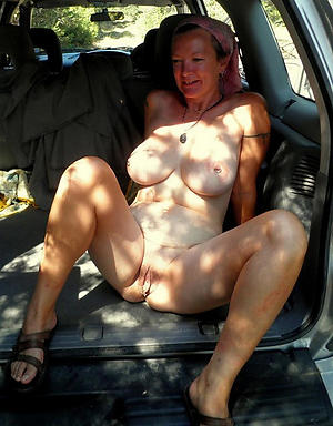 Naughty mature car blowjob