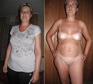 Amateur photos of mature lady before and after
