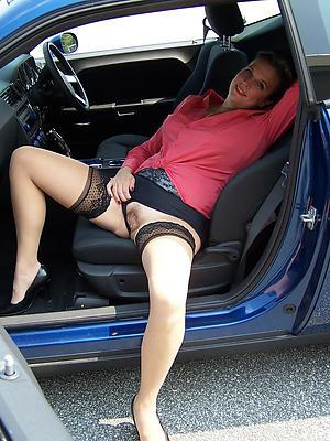 Nude mature in automobile