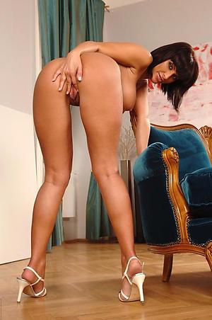 Pretty revealed mature column in high heels