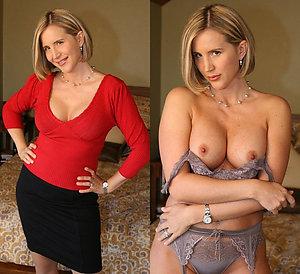 Beautiful mature dressed undressed photo