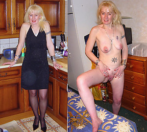 Naughty older lady dressed undressed photo